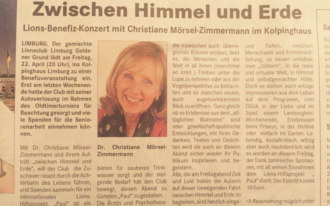 Benefizveranstaltung mit Dr. Christiane Mörsel-Zimmermann am 22.4.2016 um 20 Uhr