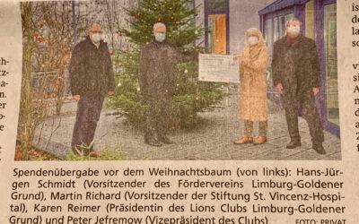 NNP vom 21.12.2020 über Spendenübergabe an Corona-Einsatzkräfte im St. Vincenz-Krankenhaus, Limburg